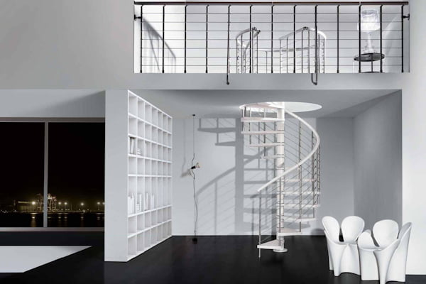 Genius Spiral Stair 050 Polished Stainless Steel
